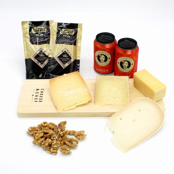 caja de quesos duros con cerveza