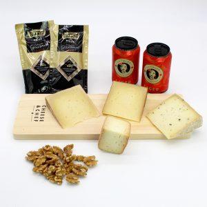 caja de quesos de oveja con cerveza